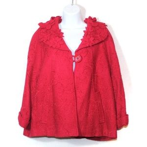 Sharon Young red floral applique swing wool jacket